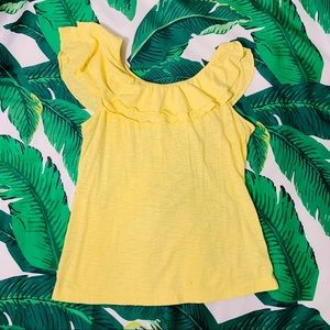 Lilly Pulitzer Wynne yellow 1 shoulder ruffle top